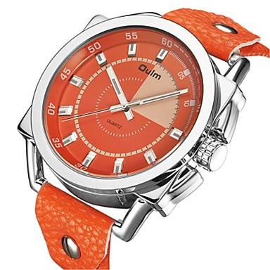 cheap Men's Watches-Oulm Men's Dress Watch Quartz Leather Orange 50 m Calendar / date / day Casual Watch Large Dial Analog Analog - Digital Fashion Colorful - Orange