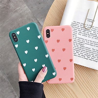 voordelige iPhone-hoesjes-hoesje voor apple iphone xr / iphone xs max patroon / frosted achterkant hart / tegel soft tpu voor iphone x / xs / 6/6 plus / 6s / 6s plus / 7/7 plus / 8/8 plus