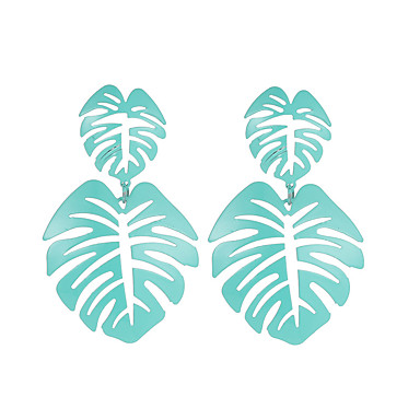 ieftine Cercei-Pentru femei Cercei Picătură Leaf Shape Declarație Personalizat Punk La modă cercei Bijuterii Galben / Albastru / Roz Pentru Crăciun Petrecere Club Măr 1 buc