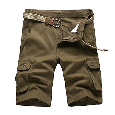 abordables Ropa de Moda Hombres-Hombre Básico Shorts Pantalones - Un Color Amarillo Verde Ejército Caqui 38 42 44