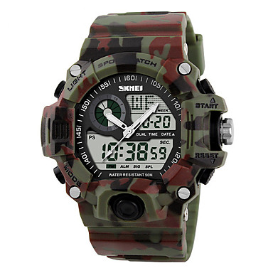 Χαμηλού Κόστους Ανδρικά ρολόγια-SKMEI Ανδρικά Ψηφιακό ρολόι Ψηφιακό Μαύρο / Μπλε / Κόκκινο 50 m Ανθεκτικό στο Νερό Ημερολόγιο Διπλές Ζώνες Ώρας Ψηφιακό Καθημερινό Υπαίθριο - Πράσινο Μπλε Πράσινο Ανοικτό