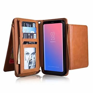 Недорогие Чехлы и кейсы для Galaxy S6 Edge-Кейс для Назначение SSamsung Galaxy S9 / S9 Plus / S8 Plus Кошелек / Бумажник для карт / Защита от удара Чехол Однотонный Твердый Настоящая кожа