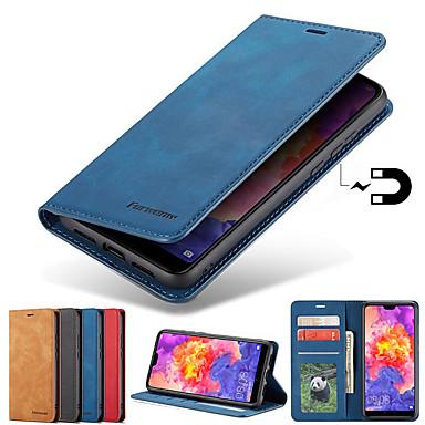 voordelige Galaxy S-serie hoesjes / covers-hoesje Voor Samsung Galaxy S9 / S9 Plus / S8 Plus Kaarthouder / met standaard / Magnetisch Volledig hoesje Effen Hard PU-nahka