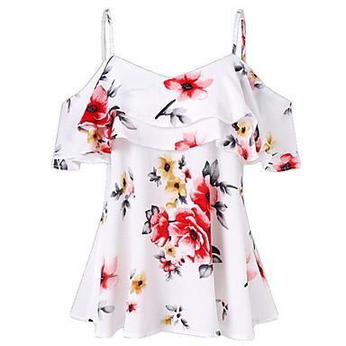 Недорогие Женские топы-Жен. Блуза На бретелях Тонкие Цветочный принт Черный L