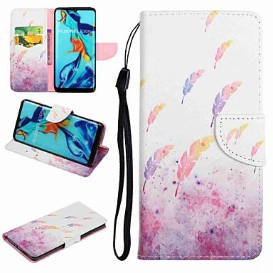 voordelige Huawei Y-serie hoesjes / covers-hoesje Voor Huawei Honor 9 / Honor 8 / Huawei Honor 7 Kaarthouder / met standaard / Flip Volledig hoesje Cartoon / Veren Hard PU-nahka