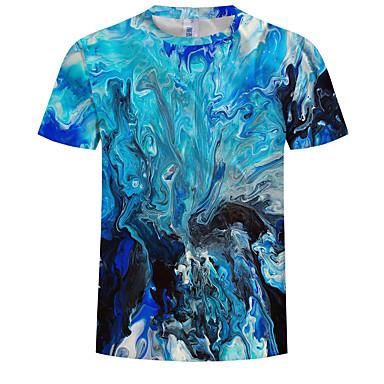 billige Herrers Mode Beklædning-Herre - 3D / Grafisk Trykt mønster T-shirt Lyseblå XXXXL