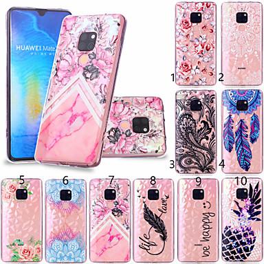 voordelige Huawei Mate hoesjes / covers-hoesje Voor Huawei Huawei P20 / Huawei P20 Pro / Huawei P20 lite Patroon Achterkant Veren / Bloem Zacht TPU