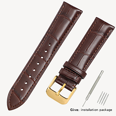 halpa Kellohihnat-aitoa nahkaa / Krokotiilikuvioinen Watch Band Hihna varten Musta / Ruskea 18cm / 7 tuumaa / 19cm / 7.48 tuumaa 1.6cm / 0.6 tuumaa / 1.8cm / 0.7 tuumaa / 1.9cm / 0.75 tuumaa
