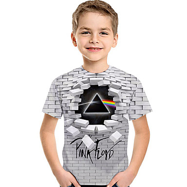 cheap Boys' Tops-Kids Toddler Boys' Active Basic Geometric Print Short Sleeve Tee Light gray