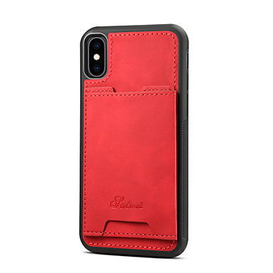 voordelige iPhone 6 Plus hoesjes-hoesje Voor Apple iPhone XS / iPhone XR / iPhone XS Max Kaarthouder Achterkant Effen Hard PU-nahka