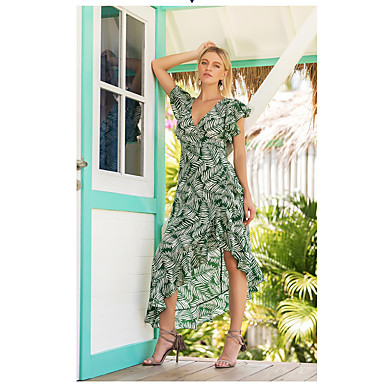 billige Kjoler med tryk-Dame Sofistikerede Elegant Swing Kjole - Blomstret, Drapering Trykt mønster Asymmetrisk