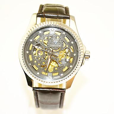 Недорогие Часы на кожаном ремешке-Муж. Механические часы Механические, с ручным заводом Кожа Черный Повседневные часы Крупный циферблат Аналоговый На каждый день Скелет - Черный