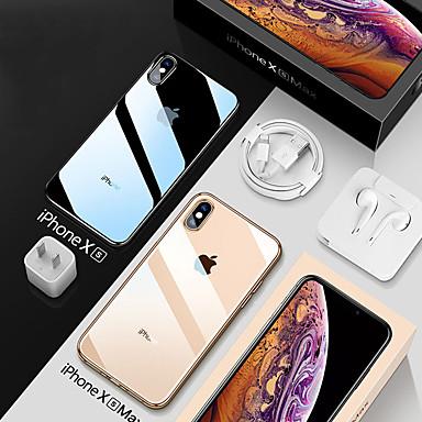 voordelige iPhone X hoesjes-hoesje Voor Apple iPhone XS / iPhone XR / iPhone XS Max Schokbestendig / Beplating / Transparant Achterkant Transparant Zacht TPU