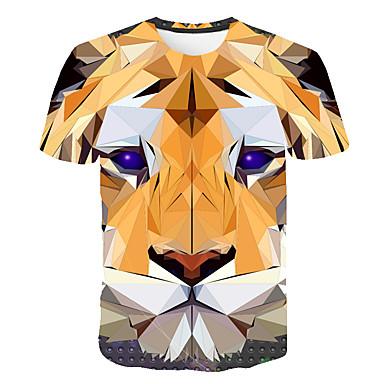 economico Abbigliamento uomo-T-shirt Per uomo Con stampe, 3D / Animali / Cartoni animati Rotonda Arancione XXXXL