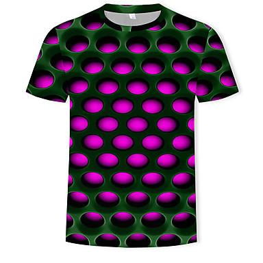 baratos Roupa de Homem Moderna-Homens Camiseta Moda de Rua / Exagerado Estampado, Estampa Colorida / 3D Decote Redondo Roxo XXXXL / Manga Curta