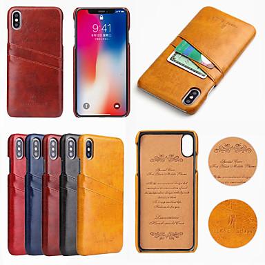 voordelige iPhone-hoesjes-fierre shann case voor apple iphone xr xs max kaarthouder achterkant effen gekleurde harde pu lederen xs x 7 7 plus 8 8 plus