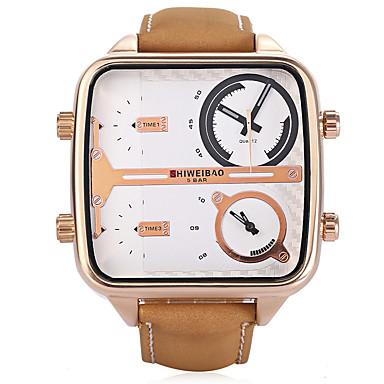 Недорогие Часы на кожаном ремешке-SHI WEI BAO Муж. Армейские часы Японский Кварцевый Кожа Хаки С двумя часовыми поясами Аналоговый Винтаж - Белый Черный Розовое золото Один год Срок службы батареи