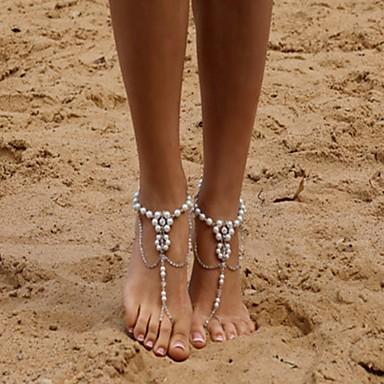 preiswerte Körperschmuck-Damen Barfußsandalen Künstliche Perle nette Art Fusskettchen Schmuck Silber Für Alltag