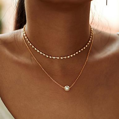economico Collana-collana del choker della catena del cristallo di rocca semplice di multi-strato di modo per le donne nuovo regalo della collana del pendente dello zircon della catena della lega di colore dell'oro