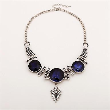 preiswerte Halsketten-Damen Blau Kubikzirkonia Pendant Halskette Geometrisch Gesegnet Modisch Chrom Silber 40 cm Modische Halsketten Schmuck 1pc Für Alltag Karnival