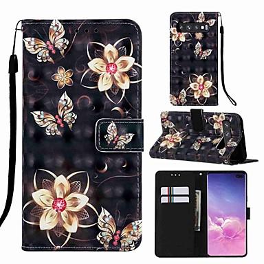 voordelige Galaxy S-serie hoesjes / covers-case voor samsung galaxy s8 plus / s9 plus patroon / flip / met standaard full body cases cartoon / vlinder hard pu leer voor galaxy s10 / galaxy s10 plus / galaxy s10 e