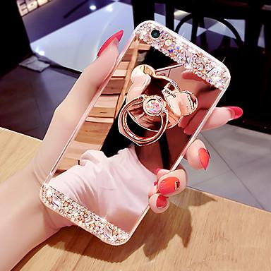 voordelige iPhone 5 hoesjes-telefoonhoes spiegel oppervlak telefoonhoes met beugelvormige ring&versterkerstandaard voor iphone 5/6 / 6p / 7 / 7p / 8 / 8p / x / xs / xr / xs max