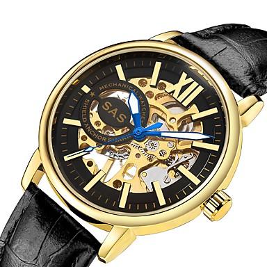 זול שעוני גברים-בגדי ריקוד גברים שעון מכני קווארץ עור שחור / חום 30 m זוהר בחושך שעונים יום יומיים אנלוגי פאר אופנתי - מוזהב שחור / זהב שחור / כסוף