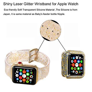 Недорогие Ремешки для Apple Watch-Разноцветный блеск мягкий силиконовый спортивный ремешок для Apple Watch Band 38/40 мм 42/44 мм серии 4 3 2 1 запястье