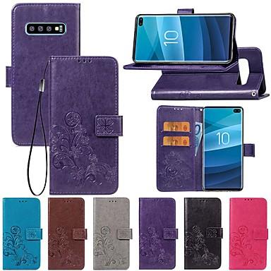 Недорогие Чехлы и кейсы для Galaxy S6-Кейс для Назначение SSamsung Galaxy S9 / S9 Plus / S8 Plus Кошелек / со стендом / Флип Чехол Однотонный / Бабочка / Цветы Твердый Кожа PU