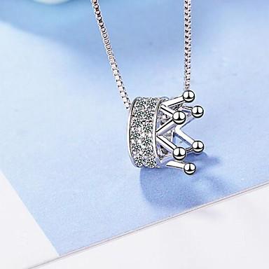 economico Collana-Per donna Collana Corona Semplice Cromo Diamanti d'imitazione Argento 45 cm Collana Gioielli 1pc Per Quotidiano