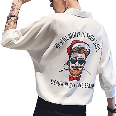 economico Abbigliamento uomo-Camicia Per uomo Moda città / Elegante Con stampe, Alfabetico / Ritratto Bianco L