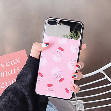 voordelige iPhone-hoesjes-hoesje Voor Apple iPhone XS / iPhone XS Max / iPhone 8 Plus Stofbestendig / Spiegel / Patroon Achterkant Voedsel / Cartoon Gehard glas / PC
