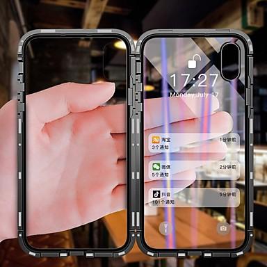 voordelige iPhone X hoesjes-hoesje Voor Apple iPhone X / iPhone 8 Plus / iPhone 8 Stofbestendig / Flip / Transparant Volledig hoesje Transparant Hard Gehard glas / Metaal / Aluminium