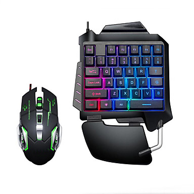 LITBest USB Wired Single Handed Gaming Keyboard Backlit Illuminous Keys with Wrist Breathing Lights Mouse Combos 2 Pieces a Kit