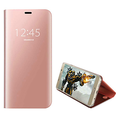 voordelige Galaxy S-serie hoesjes / covers-hoesje Voor Samsung Galaxy S7 edge Stofbestendig / Beplating / Flip Volledig hoesje Effen Hard PU-nahka / Gehard glas / PC