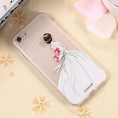 voordelige iPhone 5 hoesjes-hoesje Voor Apple iPhone X / iPhone 7 Plus / iPhone 7 Waterbestendig / Stofbestendig / Doorzichtig Achterkant Sexy dame TPU