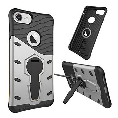 Недорогие Кейсы для iPhone-Кейс для Назначение Apple iPhone 8 Pluss / iPhone 8 / iPhone 7 Plus Защита от удара / Защита от пыли / со стендом Кейс на заднюю панель Имитация дерева / Полосы / волосы Твердый ТПУ / ПК