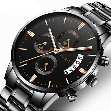 cheap Men's Stainless Steel Watches-Men's Dress Watch Quartz Formal Style Stylish Stainless Steel Black / Silver 30 m Calendar / date / day Analog Luxury Fashion - Black Black / White Silver One Year Battery Life