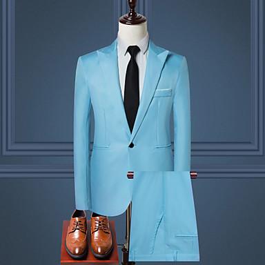 economico Abbigliamento uomo-Per uomo Ufficio Standard Completi, Tinta unita Colletto Manica lunga Poliestere Vino / Azzurro / Cachi XXXL / XXXXL / XXXXXL