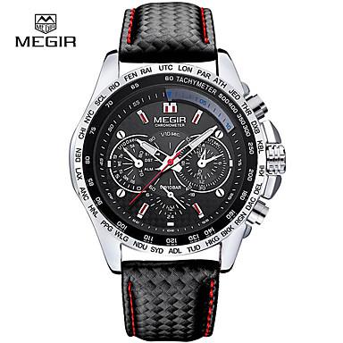 Недорогие Часы на кожаном ремешке-megir мужские кварцевые часы роскошные кожаные спортивные наручные часы дата часы кварцевые часы