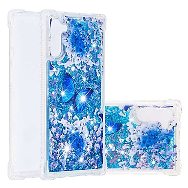 voordelige Galaxy Note-serie hoesjes / covers-hoesje voor Samsung Galaxy Note 9 / Note 8 / Galaxy Note 10 schokbestendig / vloeiende vloeistof / transparante achterkant vlinder / glitter shine TPU zacht voor Samsung Galaxy Note 10 plus