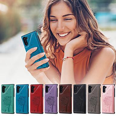 voordelige Galaxy Note-serie hoesjes / covers-hoesje voor samsung galaxy note 9 / note 8 / note 10 portemonnee / kaarthouder / met standaard achterkant kat / boom pu leer voor note 10 / note 10 plus / note 9 / note 8
