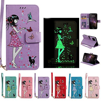 voordelige iPhone 6 Plus hoesjes-hoesje Voor Apple iPhone 11 / iPhone 11 Pro / iPhone 11 Pro Max Glow in the dark / Portemonnee / Kaarthouder Volledig hoesje Effen PU-nahka