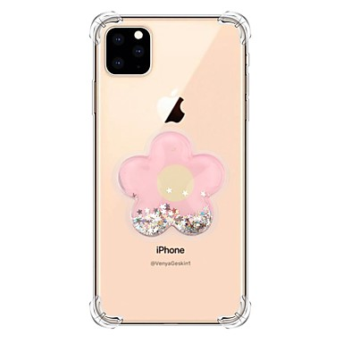 voordelige iPhone X hoesjes-hoesje Voor Apple iPhone 11 / iPhone 11 Pro / iPhone 11 Pro Max Stromende vloeistof / Transparant / Patroon Achterkant Glitterglans TPU