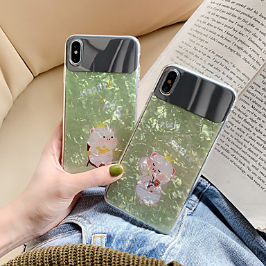 voordelige iPhone 6 hoesjes-hoesje Voor Apple iPhone XS / iPhone XR / iPhone XS Max Stofbestendig / Spiegel Achterkant dier / Cartoon silica Gel