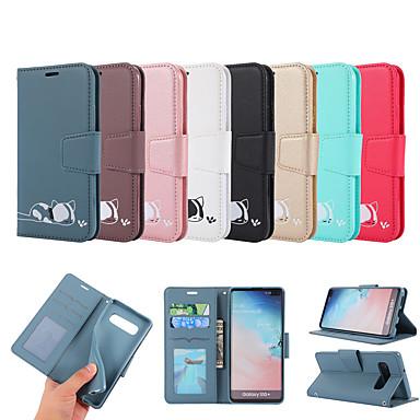 voordelige Galaxy S-serie hoesjes / covers-hoesje Voor Samsung Galaxy S9 / S9 Plus / Galaxy S10 Kaarthouder / met standaard / Flip Volledig hoesje dier PU-nahka