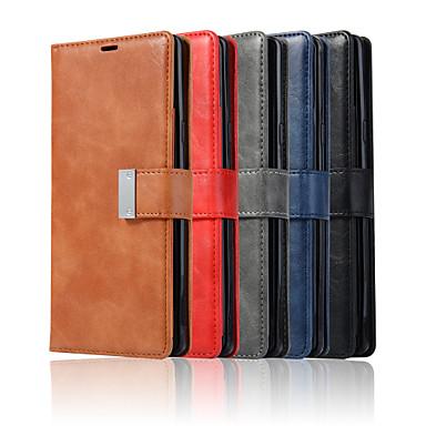 voordelige Galaxy Note-serie hoesjes / covers-hoesje Voor Samsung Galaxy Note 9 / Note 8 / Note 5 Edge Portemonnee / Kaarthouder / met standaard Volledig hoesje Effen PU-nahka / TPU