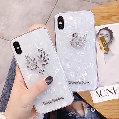 voordelige iPhone X hoesjes-hoesje voor Apple iPhone XS / iPhone XR / iPhone XS Max / 7 8 Plus / 6Splus / 6S Strass Achterkant Effen Acryl