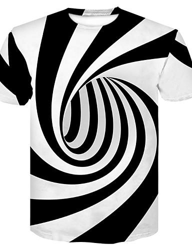 Χαμηλού Κόστους Ανδρικά Τοπ-Ανδρικά T-shirt Κλαμπ Βασικό / Κομψό στυλ street Συνδυασμός Χρωμάτων Στρογγυλή Λαιμόκοψη Στάμπα Ασπρόμαυρο / Κοντομάνικο