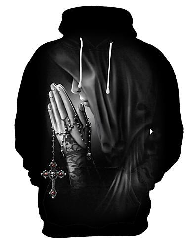 저렴한 남성 후디 & 캐쥬얼-남성용 과장된 플러스 사이즈 루즈핏 바지 - 3D / 카툰 프린트 블랙 / 후디 / 스포츠 / 긴 소매 / 가을 / 겨울